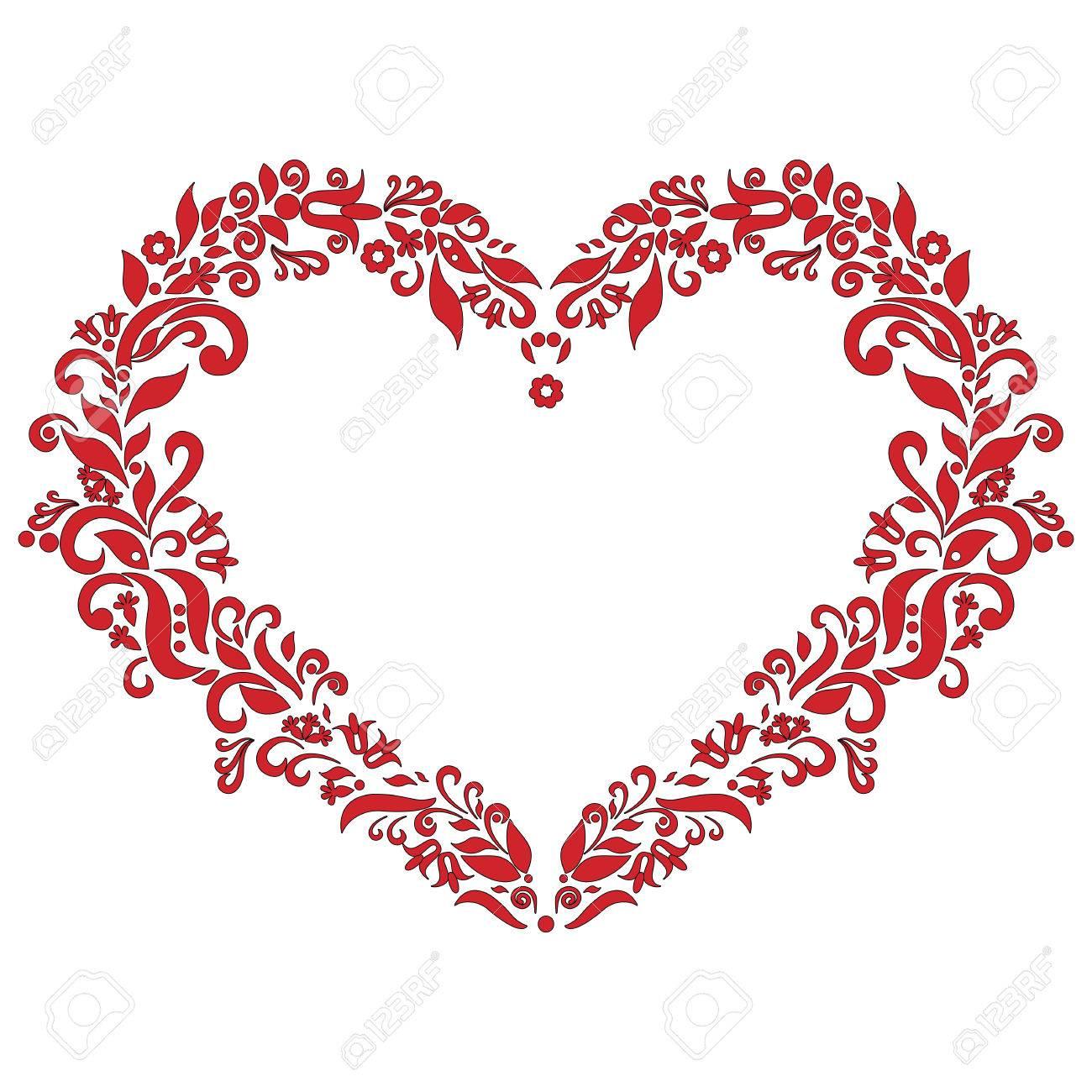 Inspirado Bordado Patrón De La Forma Del Corazón Del Amor En Rojo ...