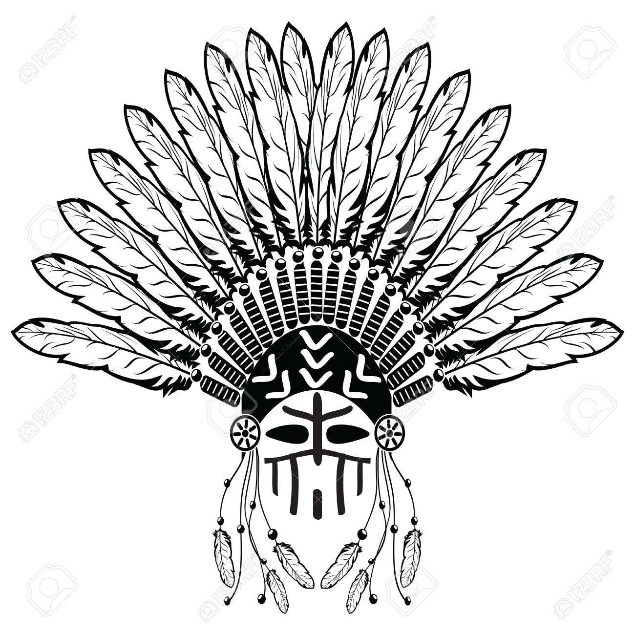 Aztec ethnic style headdress with plain feathers beads symbolizing aztec ethnic style headdress with plain feathers beads symbolizing native american tribes and warrior buycottarizona Images