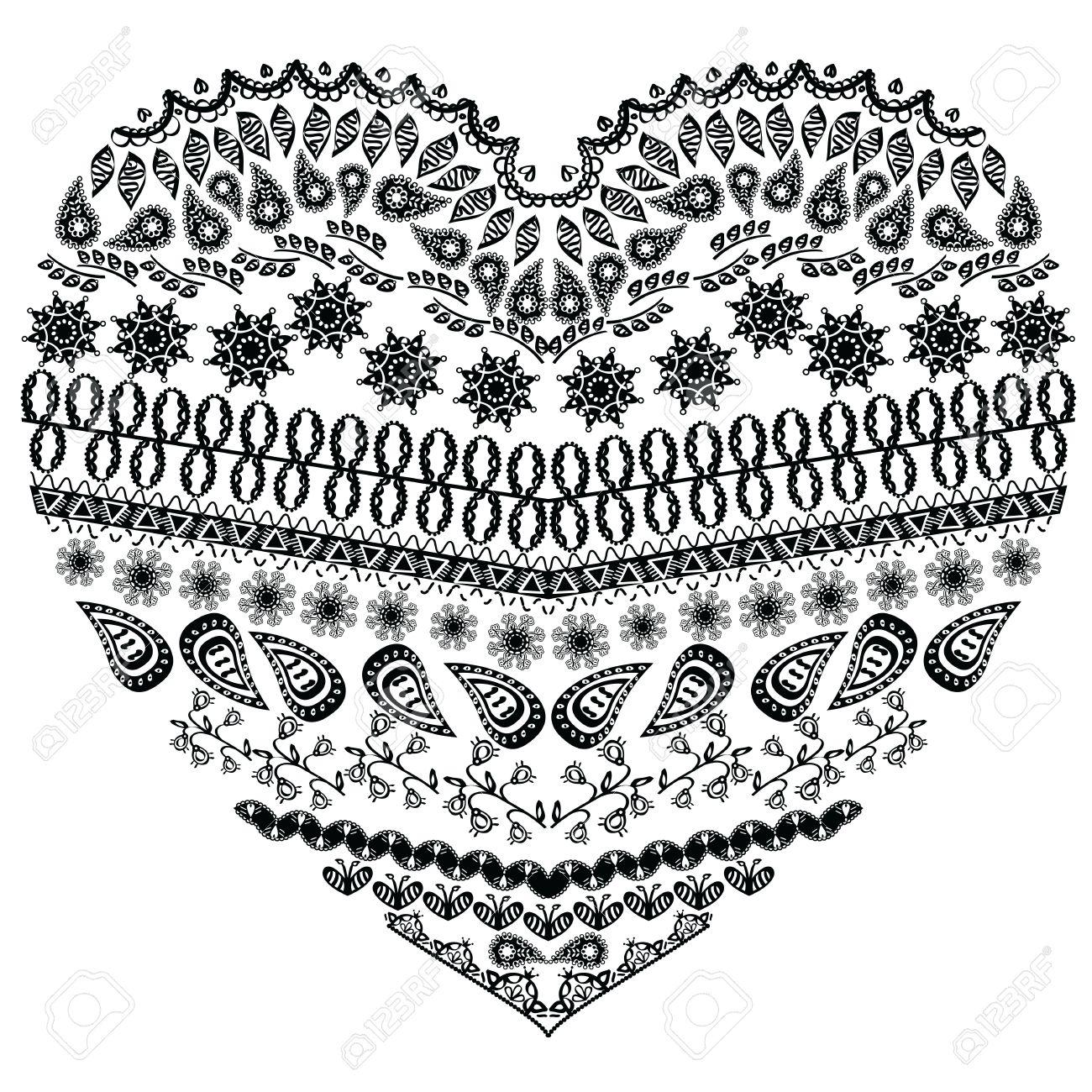 Dentelle Dessin forme de coeur aztèque entangle tribal avec des éléments floraux en