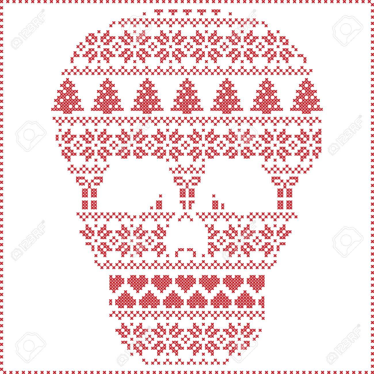 Patrón De Navidad Nórdica Costura Invierno Tejer Escandinavo En El ...