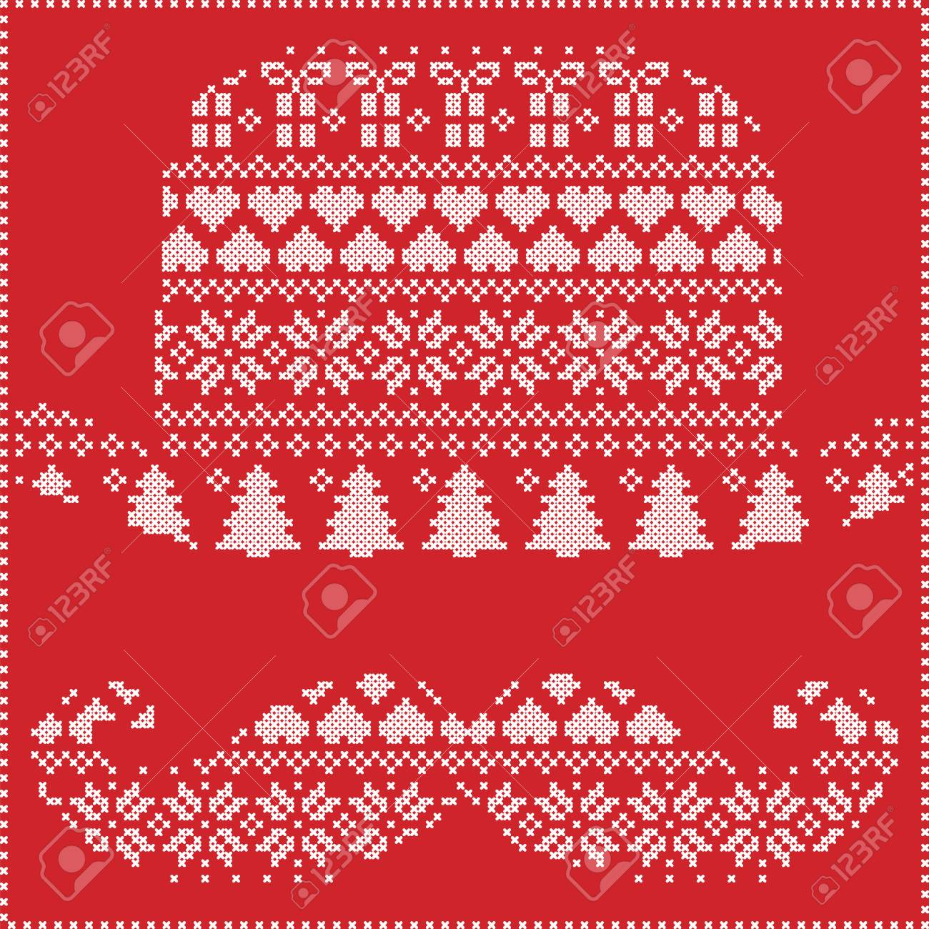 Patrón De Navidad Nórdica Costura Invierno Tejer Escandinavo En ...
