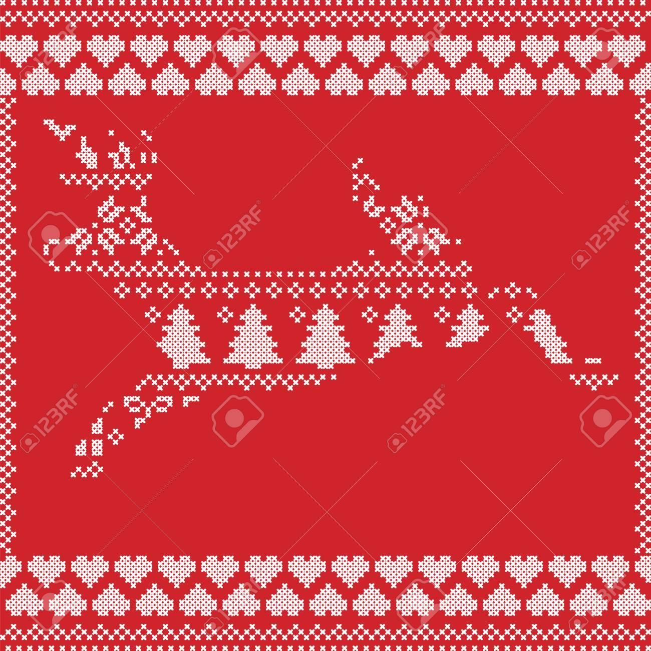 Patrón De Navidad Invierno Noruego Escandinavo Estilo De Cosido De ...