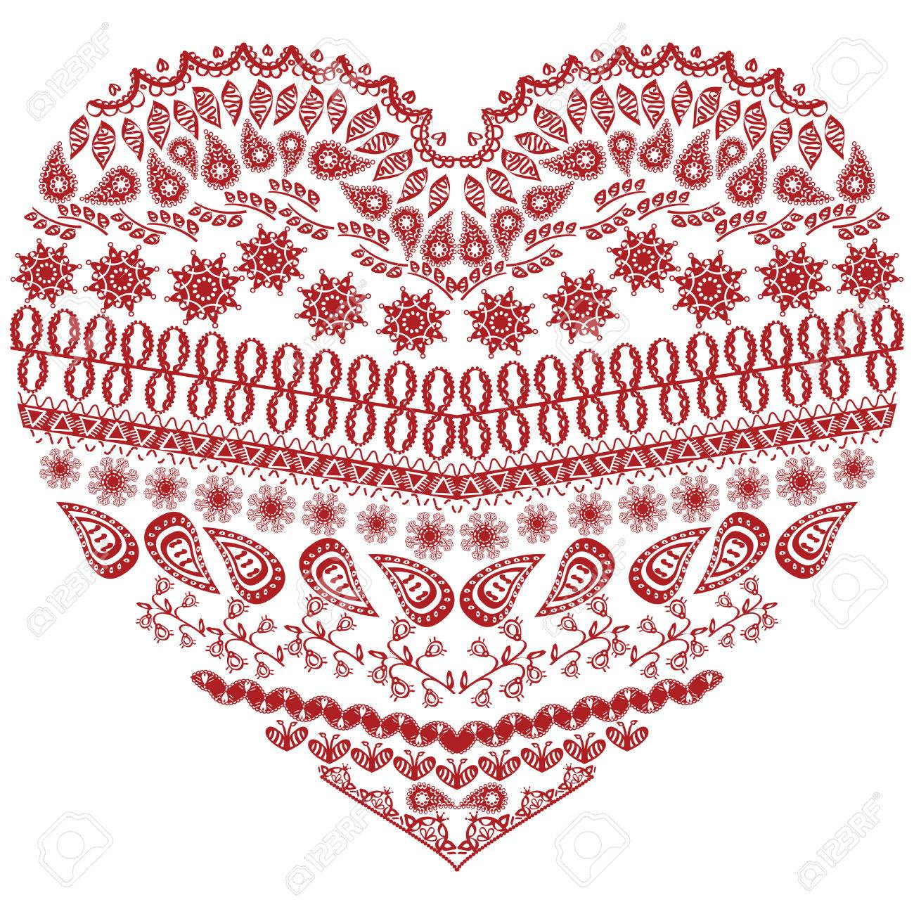 Tribal Zentangle Aztec Heart Shape With Floral Elements In Hand Drawing Lace Ornamental Style Red