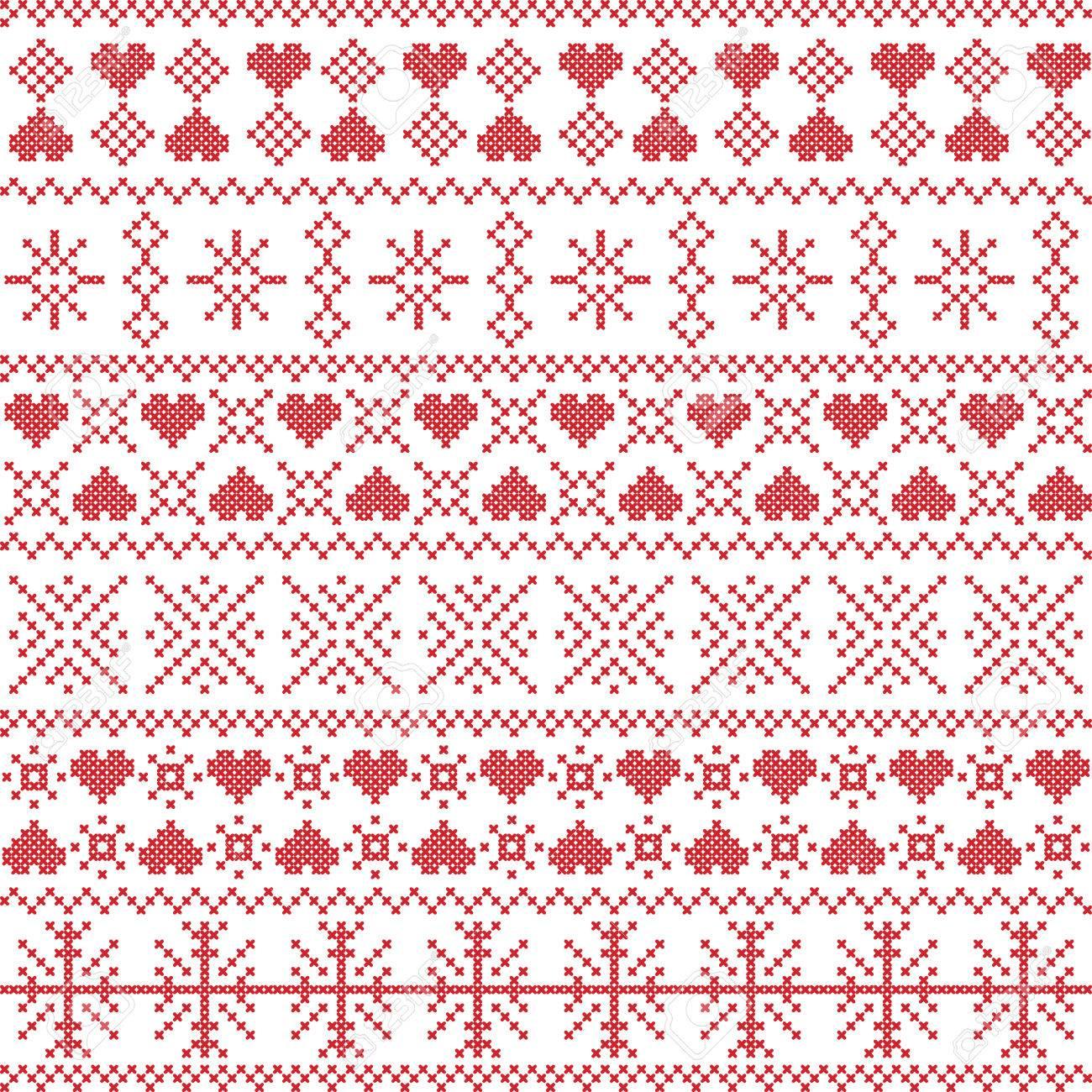 Skandinavisch, Winter Im Nordischen Stil Nähen Weihnachten Nahtlose ...