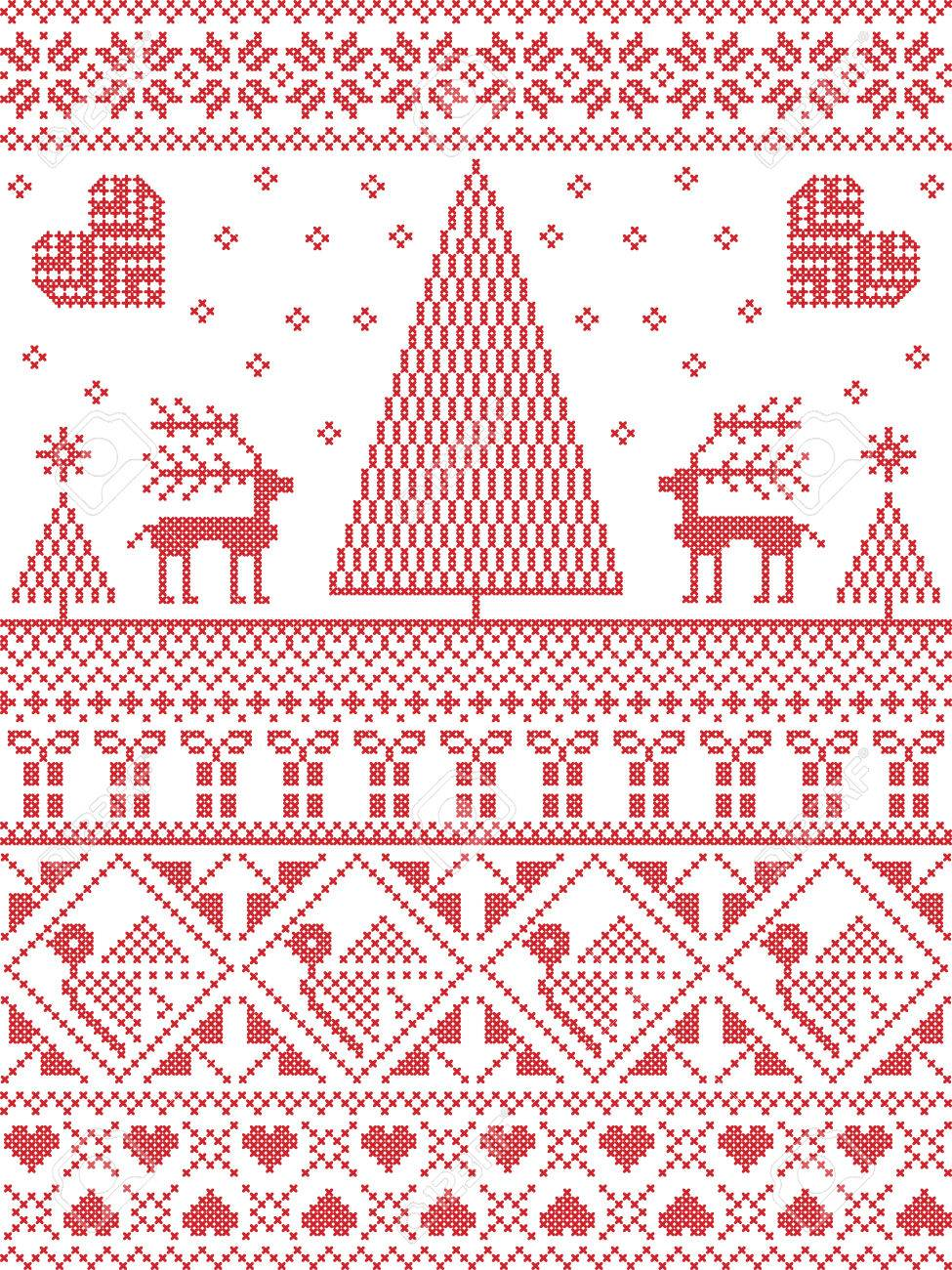 Norwegian Christmas.Scandinavian Printed Textile Style And Inspired By Norwegian