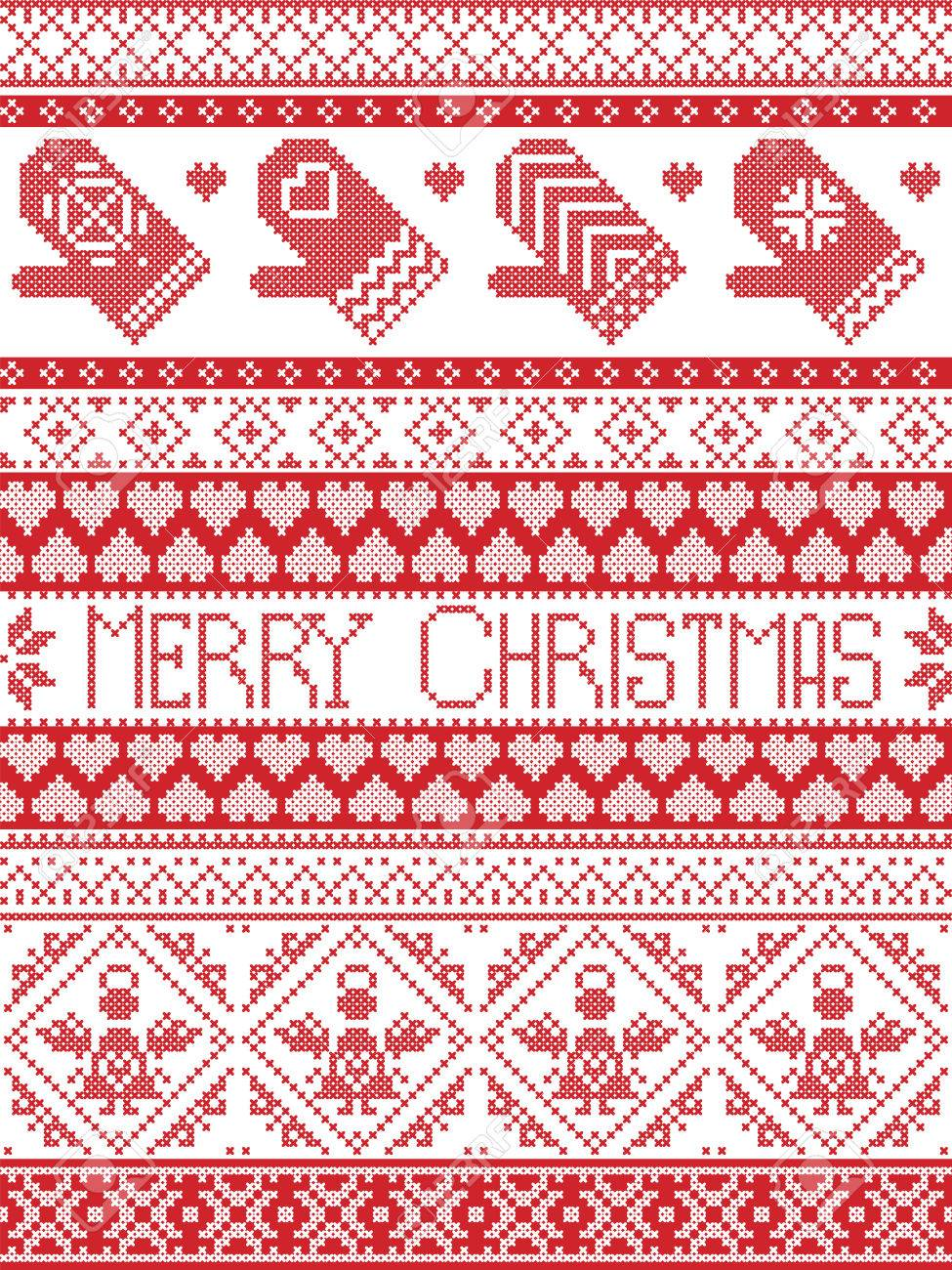 Merry Christmas Tall Scandinavian Printed Textile Style And Inspired ...