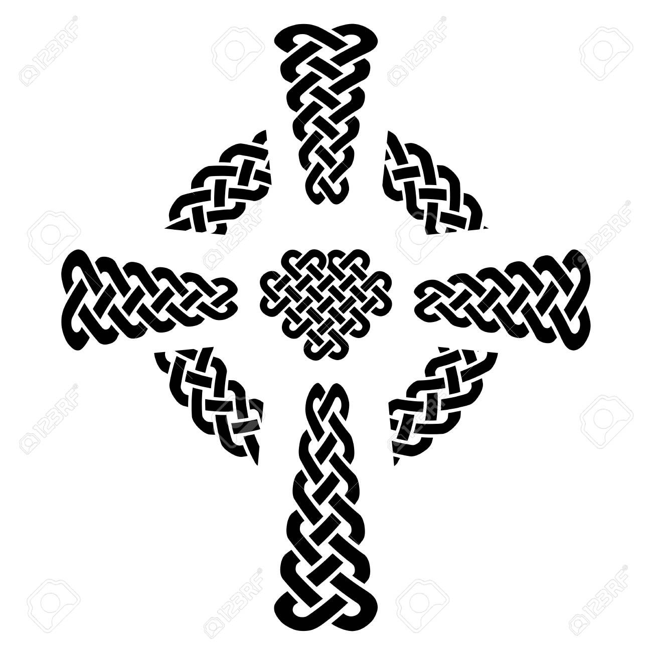 Celtic style knotted cross with eternity knot patterns in white celtic style knotted cross with eternity knot patterns in white and black with surrounding rounded knot buycottarizona Image collections