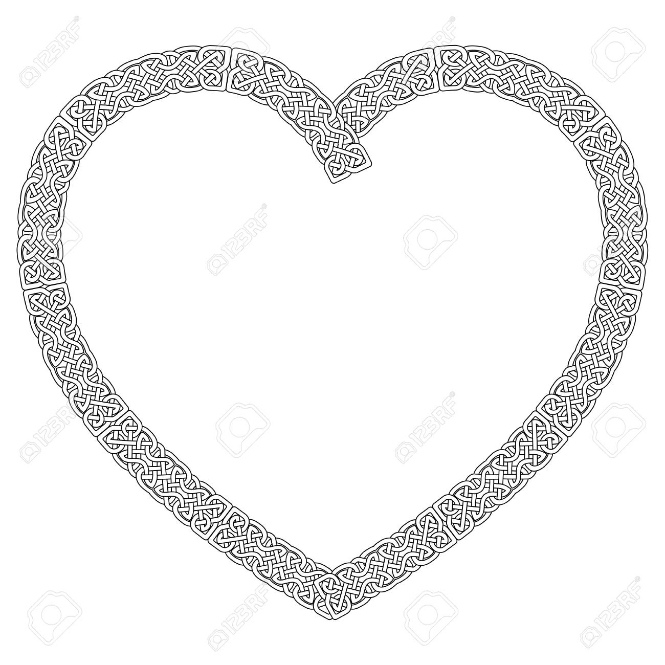 Celtic style knotted heart in white with black stroke with eternity celtic style knotted heart in white with black stroke with eternity knot pattern stock vector biocorpaavc Gallery