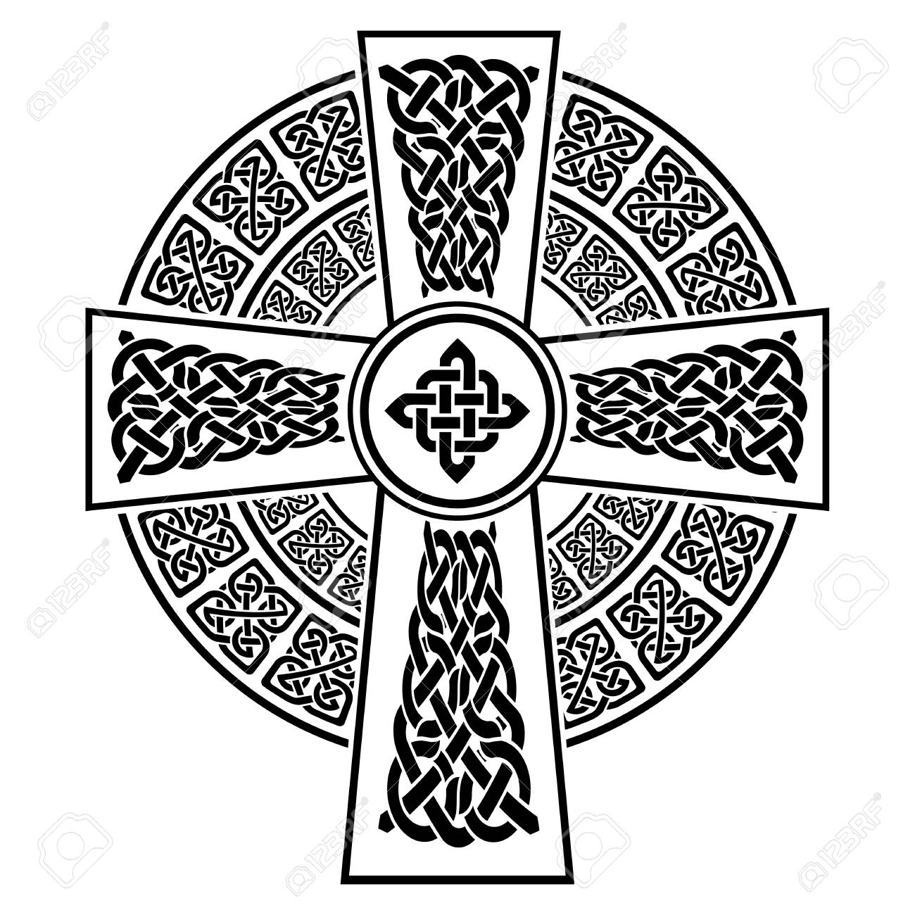 Celtic style cross with eternity knots patterns in white and black celtic style cross with eternity knots patterns in white and black with stroke element surrounded by buycottarizona Image collections