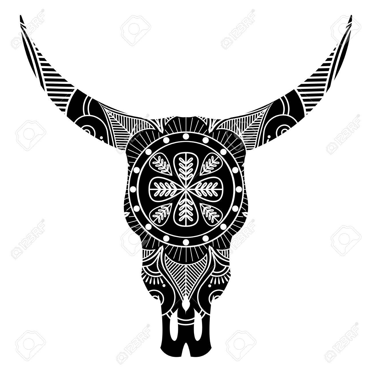 Wild Animal Skull In Black And White Inspired By Hand Drawn