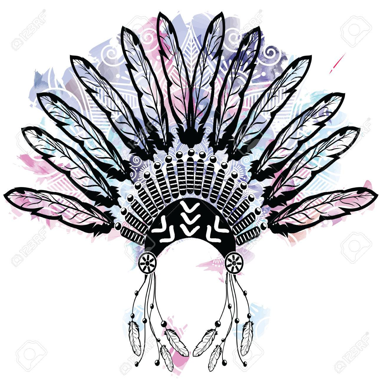 daaa46ec66a12 Aztec style headdress made out of feathers on colorful watercolors  background with mandala lace tattoo style