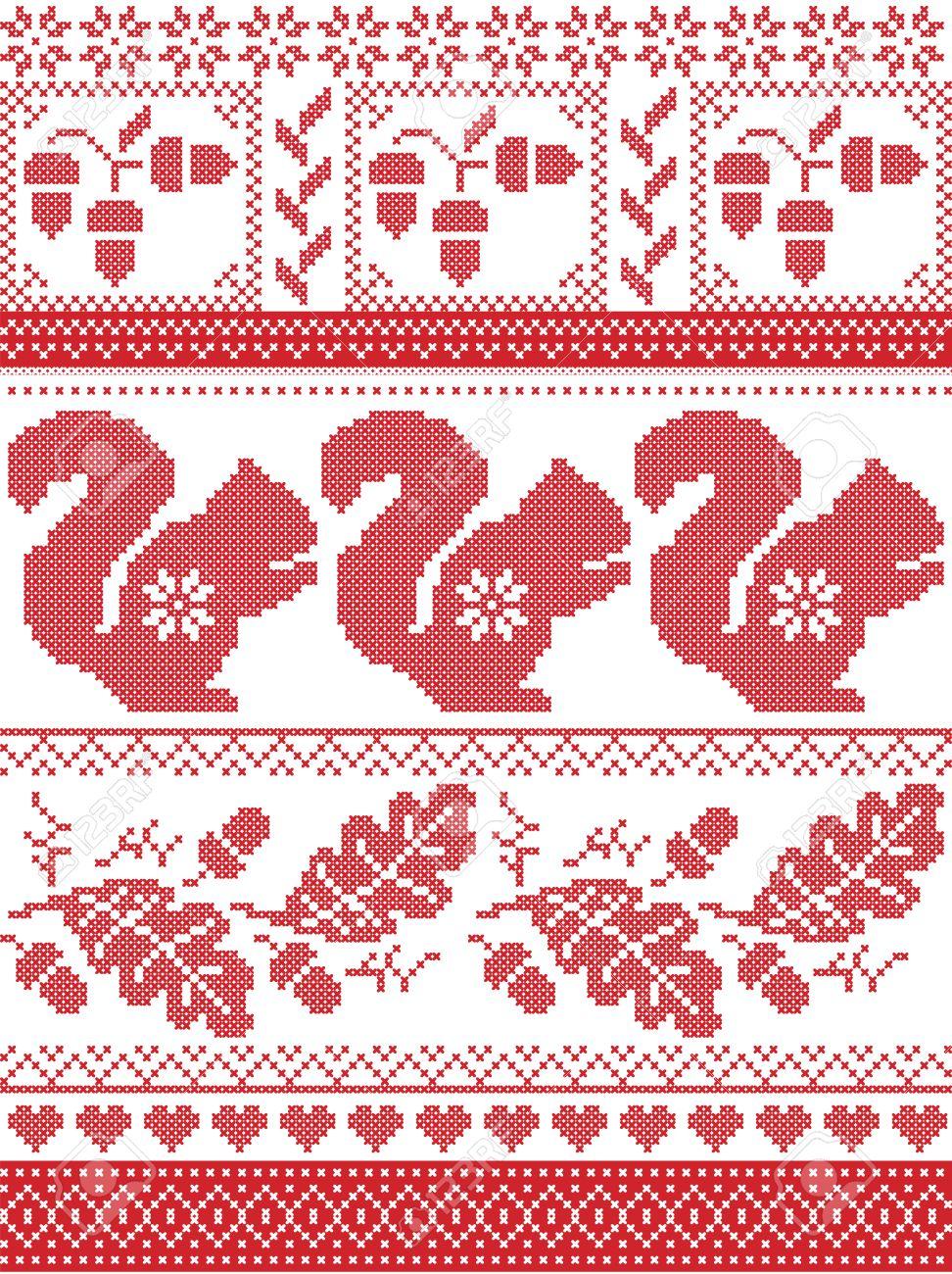 Escandinavo Y Noruego De La Cultura De Navidad Inspirado Patrón De ...