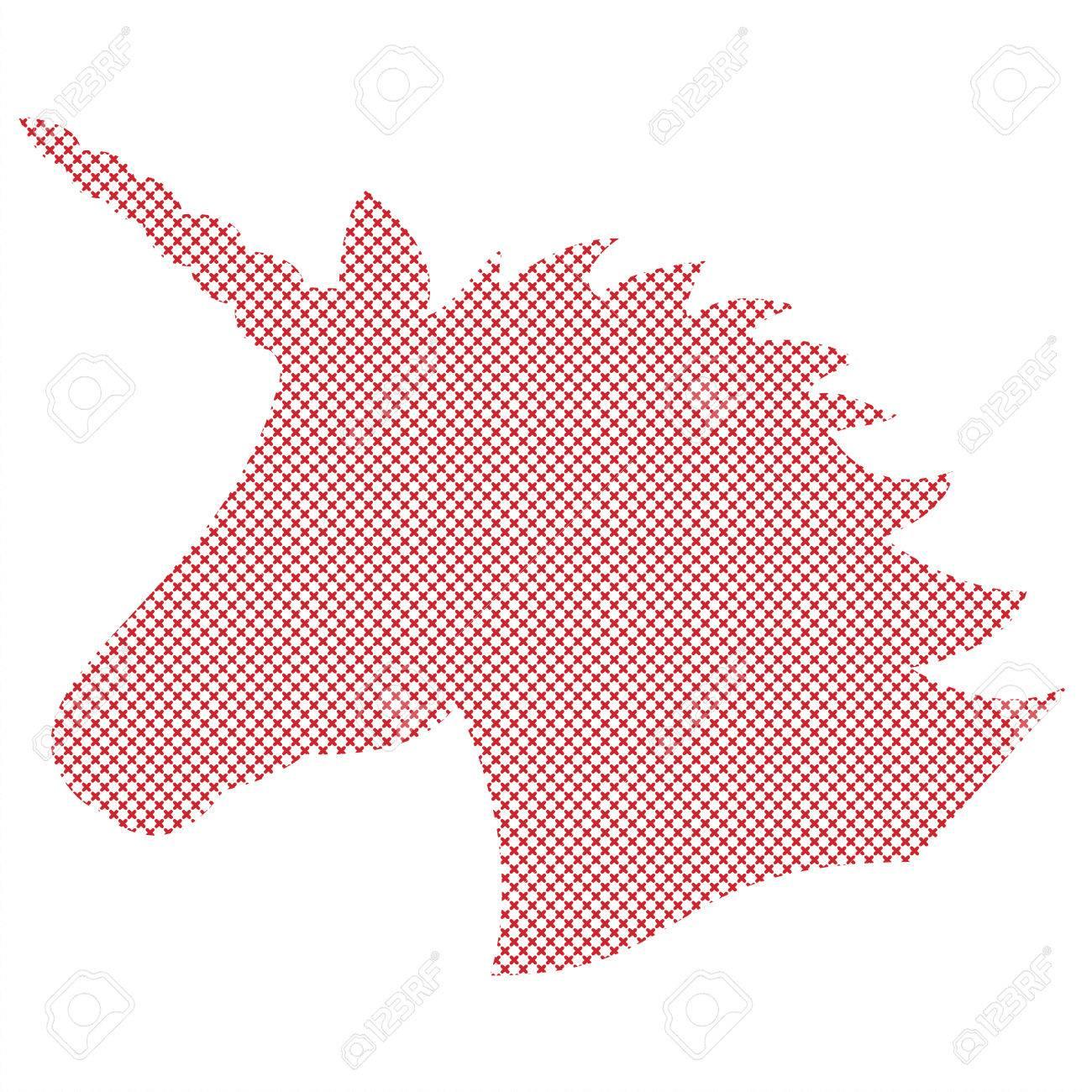 Simple Forma, La Silueta Del Unicornio Mágico En Punto De Cruz De ...