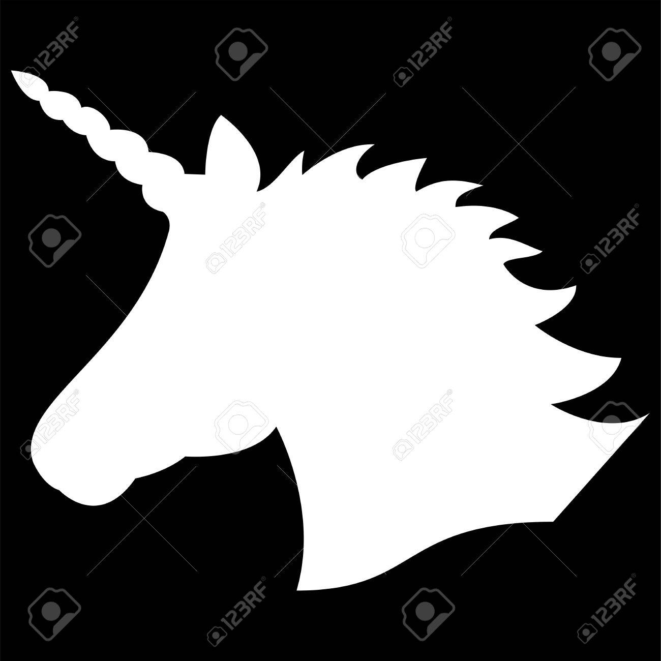 Simple monochrome shape silhouette of the magical unicorn