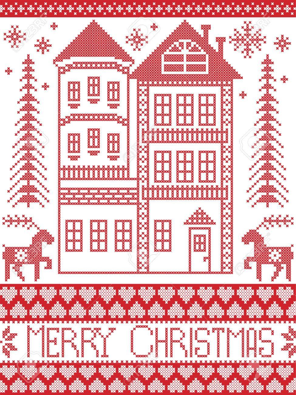 Encantador Patrones De Punto De Arranque De Navidad Retro Festooning ...
