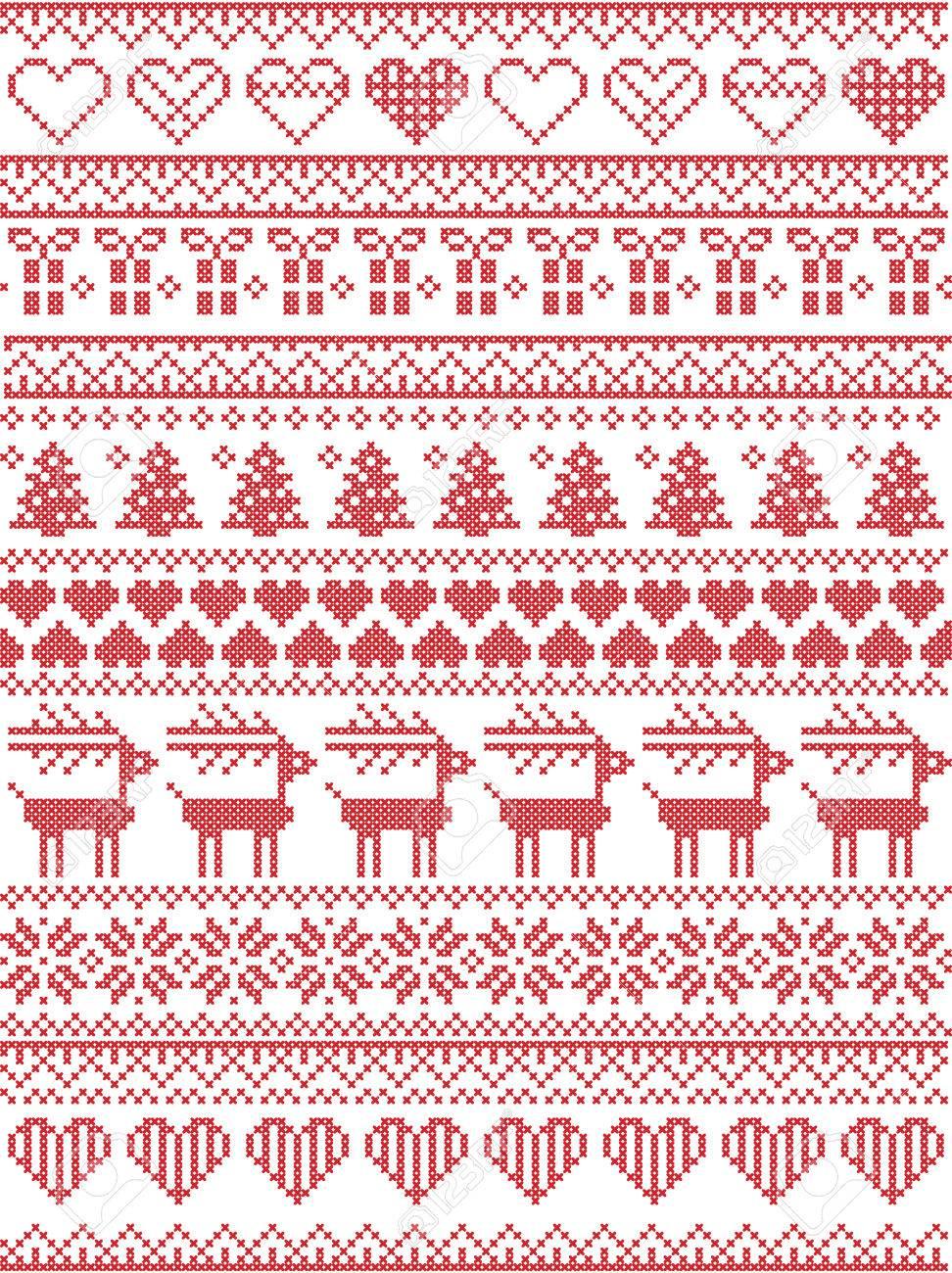 Skandinavische, Nordischen Stil Winter Naht Weihnachten Nahtlose ...