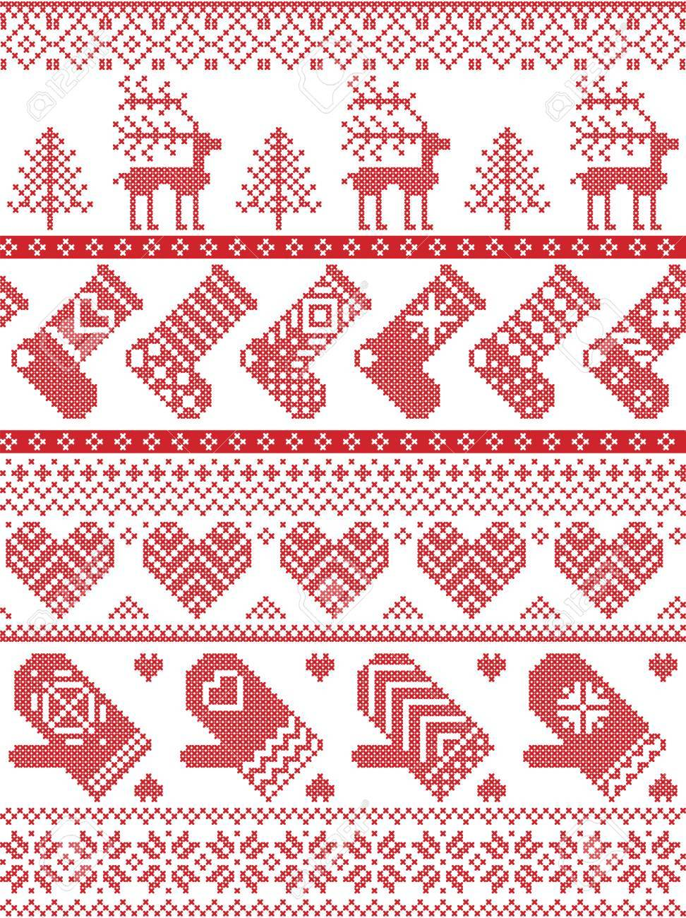 Skandinavisches, Nordisches Artwinterstickendes Weihnachtsmuster ...