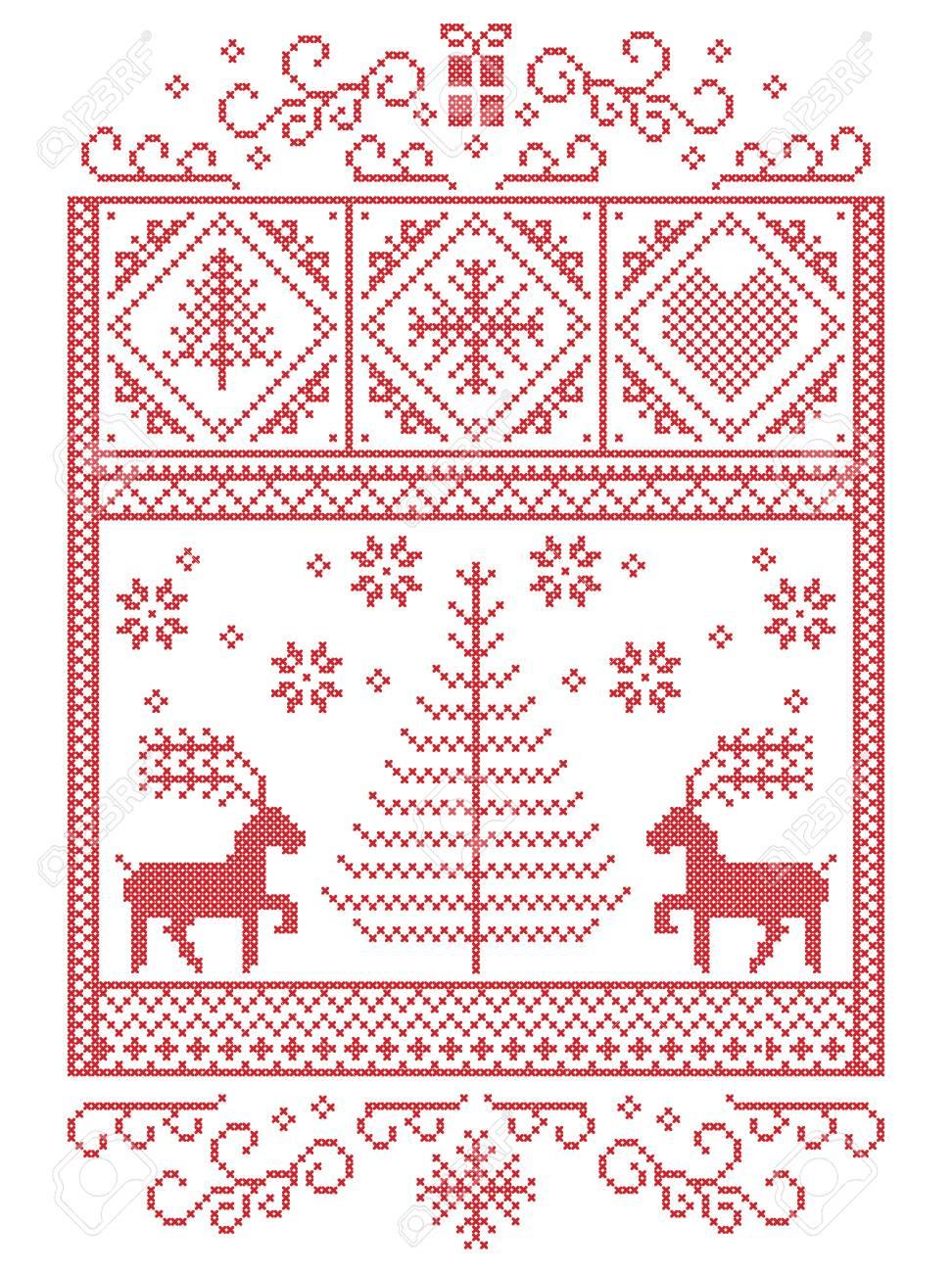 Elegantes Weihnachtsskandinavisch, Nordische Winterstitching, Muster ...