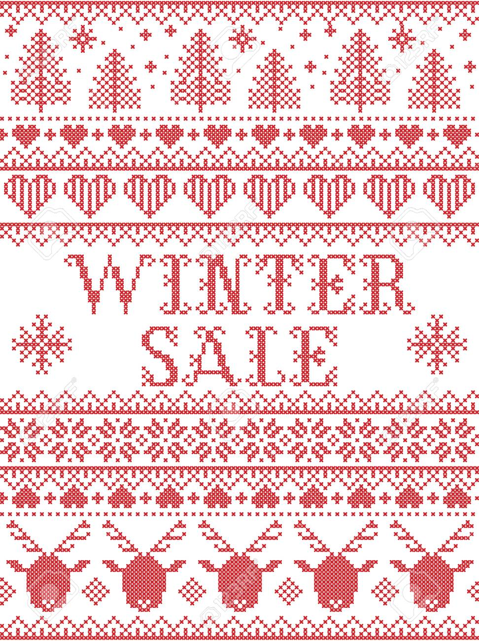 Norwegian Christmas.Seamless Winter Sale Scandinavian Style Inspired By Norwegian