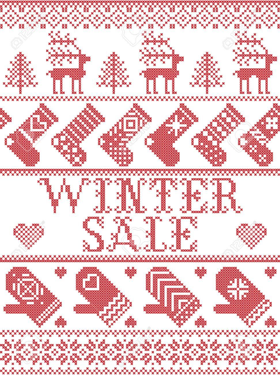 Seamless Winter Sale Scandinavian Style, Inspired By Norwegian ...
