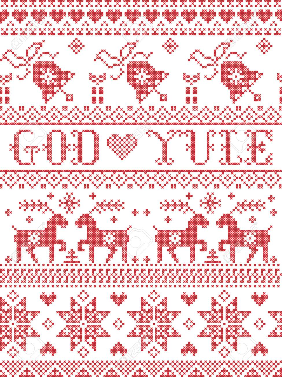 Merry Christmas In Norwegian.Christmas Pattern Merry Christmas In Norwegian God Yule Vector