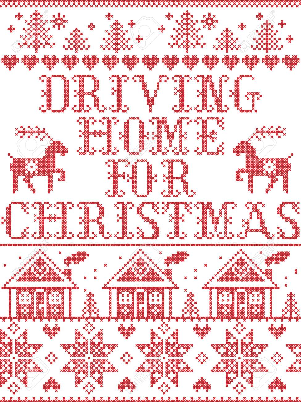 Driving Home For Christmas.Christmas Pattern Driving Home For Christmas Carol Vector Seamless