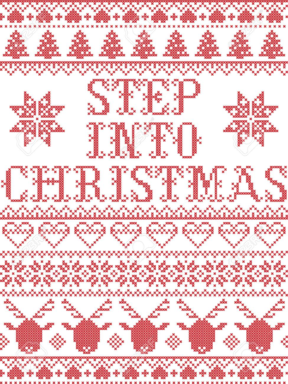 Step Into Christmas.Christmas Pattern Step Into Christmas Carol Vector Seamless Pattern