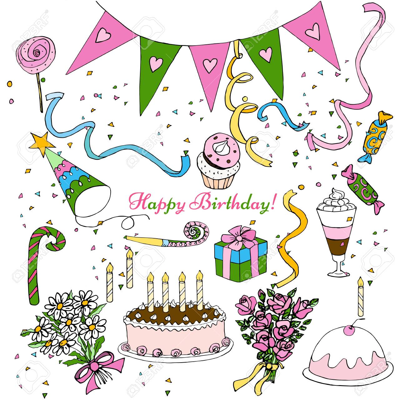 Hand Draw birthday party clipart, isolated doodle set design decoration - 122781244
