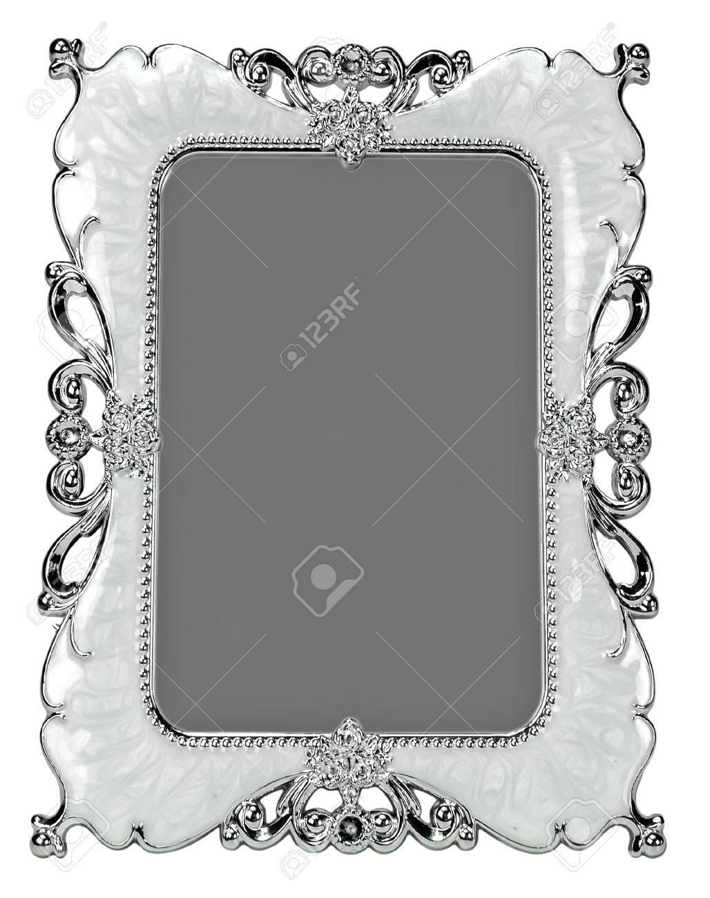 Dekorative Silber Perle Rahmen Isoliert Auf Weißem Hintergrund ...