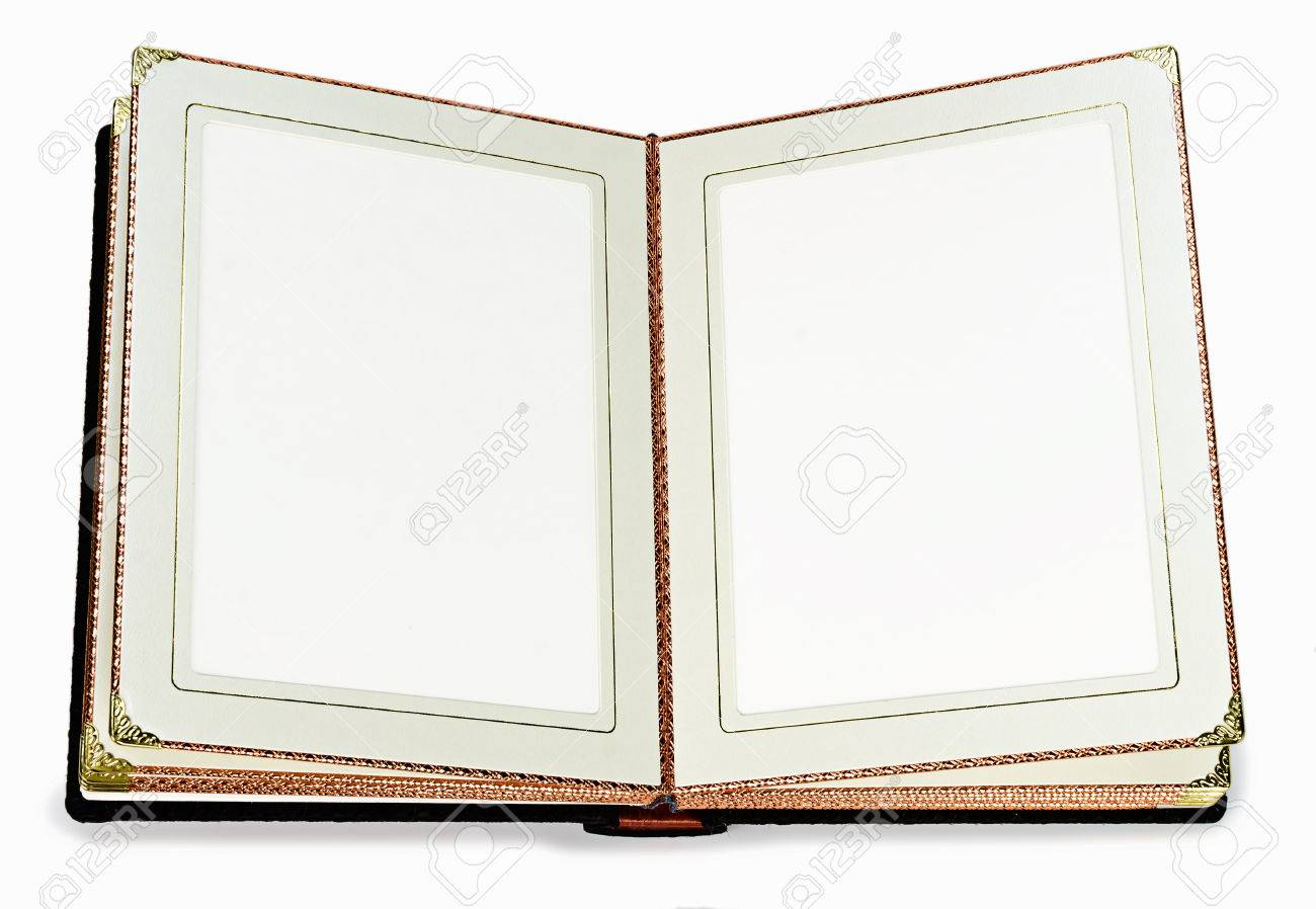 Opened book with blank pages and decorative gold frame for text opened book with blank pages and decorative gold frame for text on a white background stock jeuxipadfo Gallery