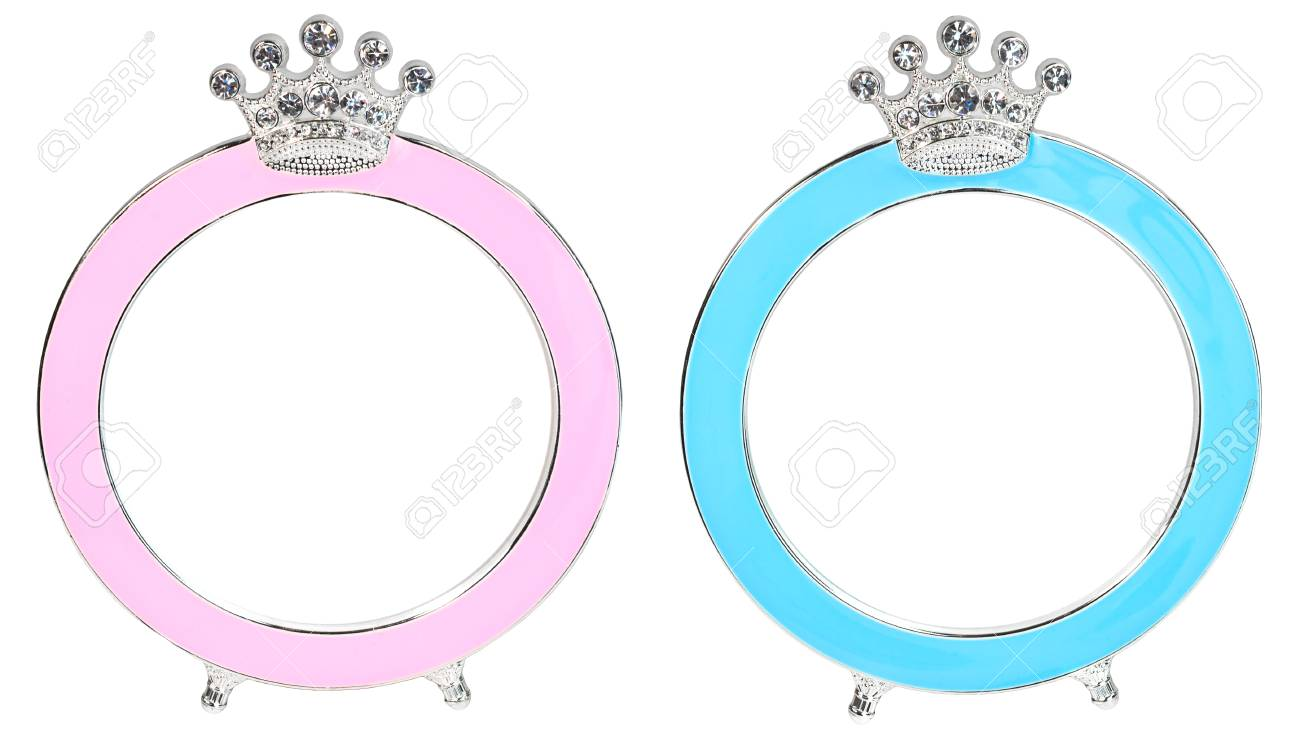Two Photo Frames In Form Of Round With A Crown Inlaid Rhinestones ...