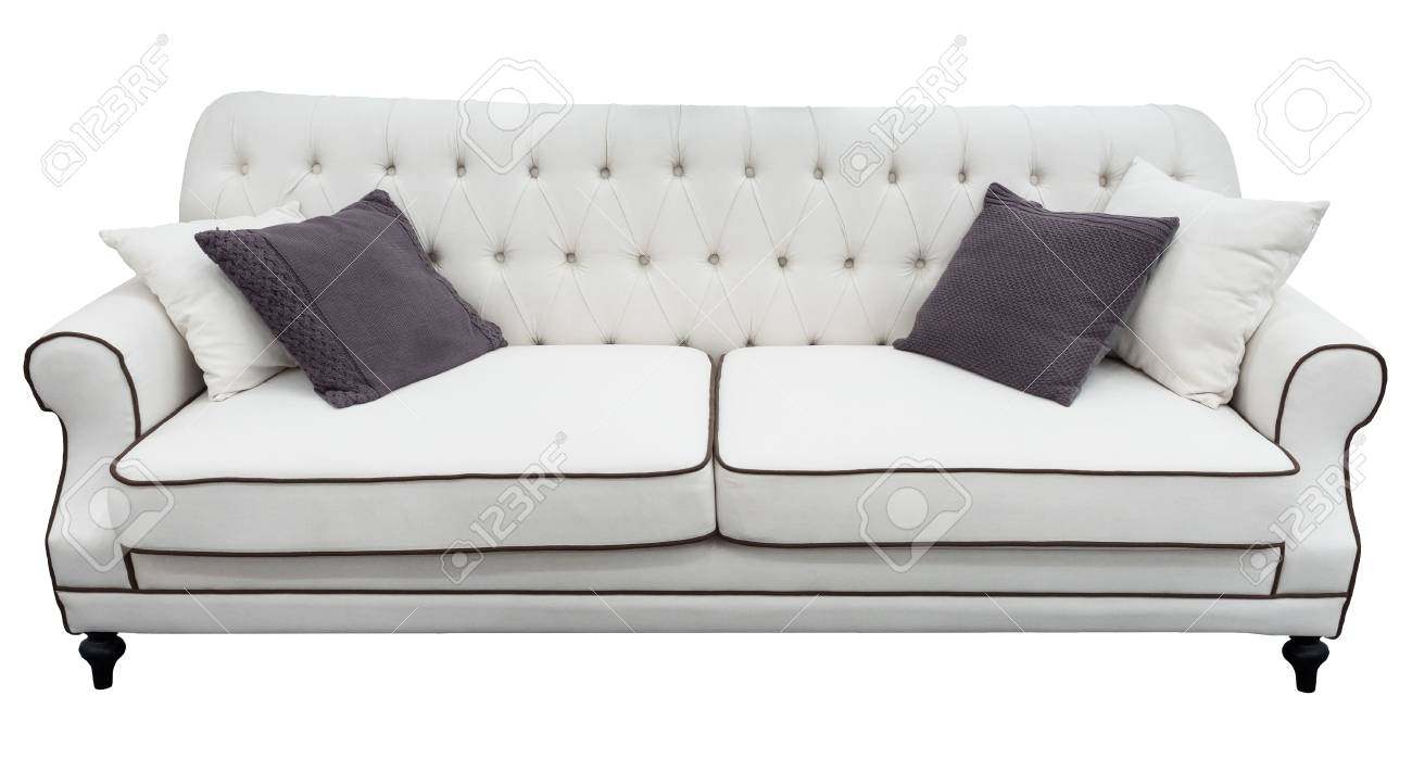 Fabulous White Sofa With Pillows Soft Couch Isolated Background Classic Squirreltailoven Fun Painted Chair Ideas Images Squirreltailovenorg