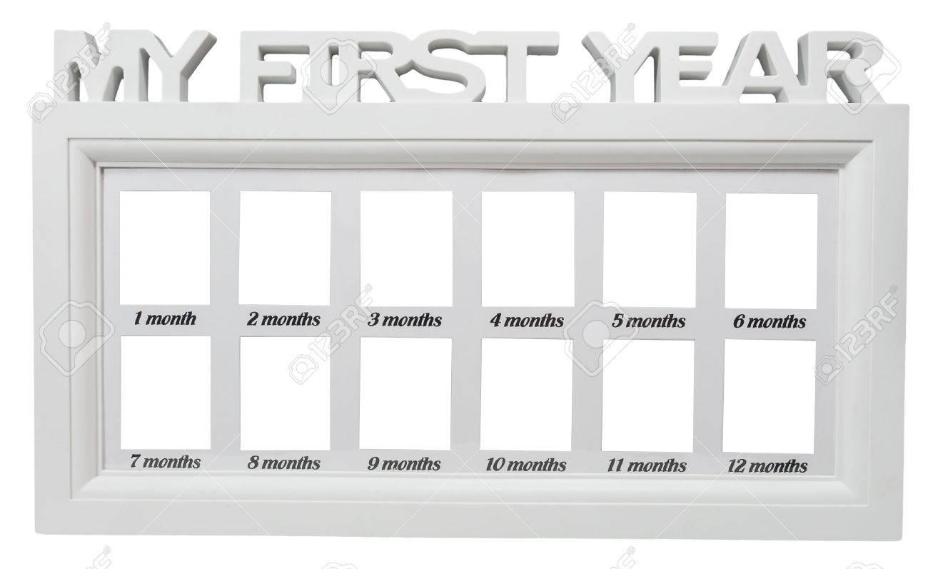 Babys Metall Foto Mein Erstes Jahr Auf Weißem Hintergrund Rahmen ...