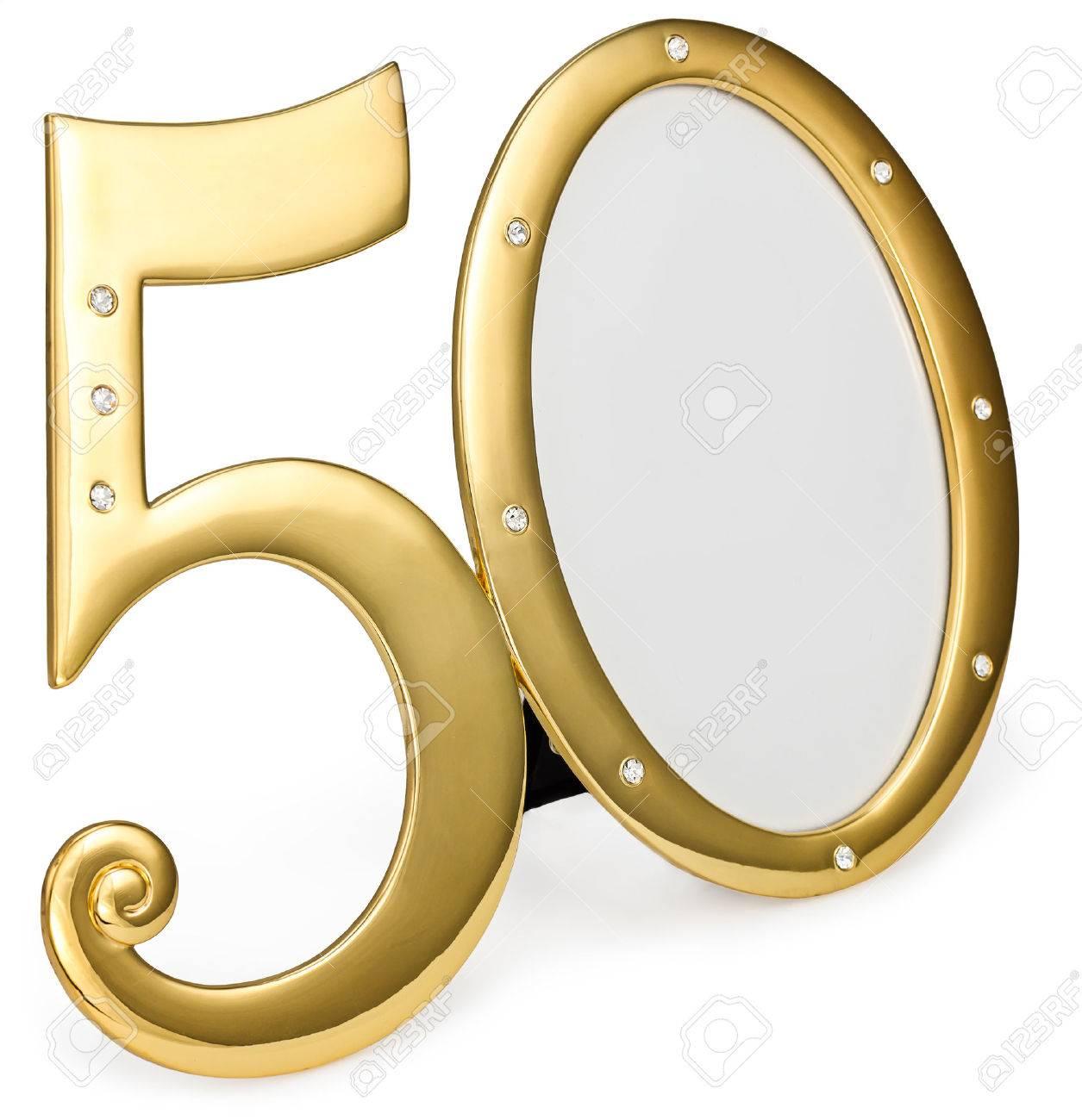 Gold Foto Frame Geburtstag 50 Jahrestag Der Isolation Auf Einem