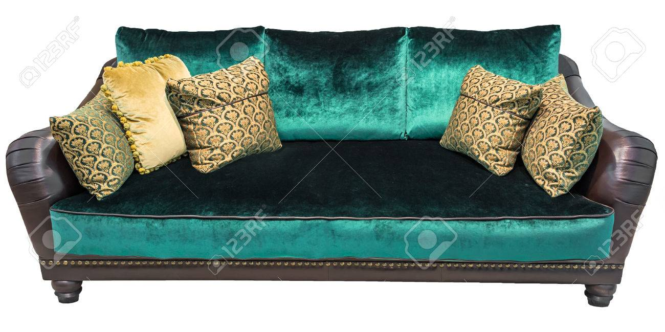 Green Sofa With Pillow. Soft Emerald Couch. Isolated Background. Stock  Photo   74431133