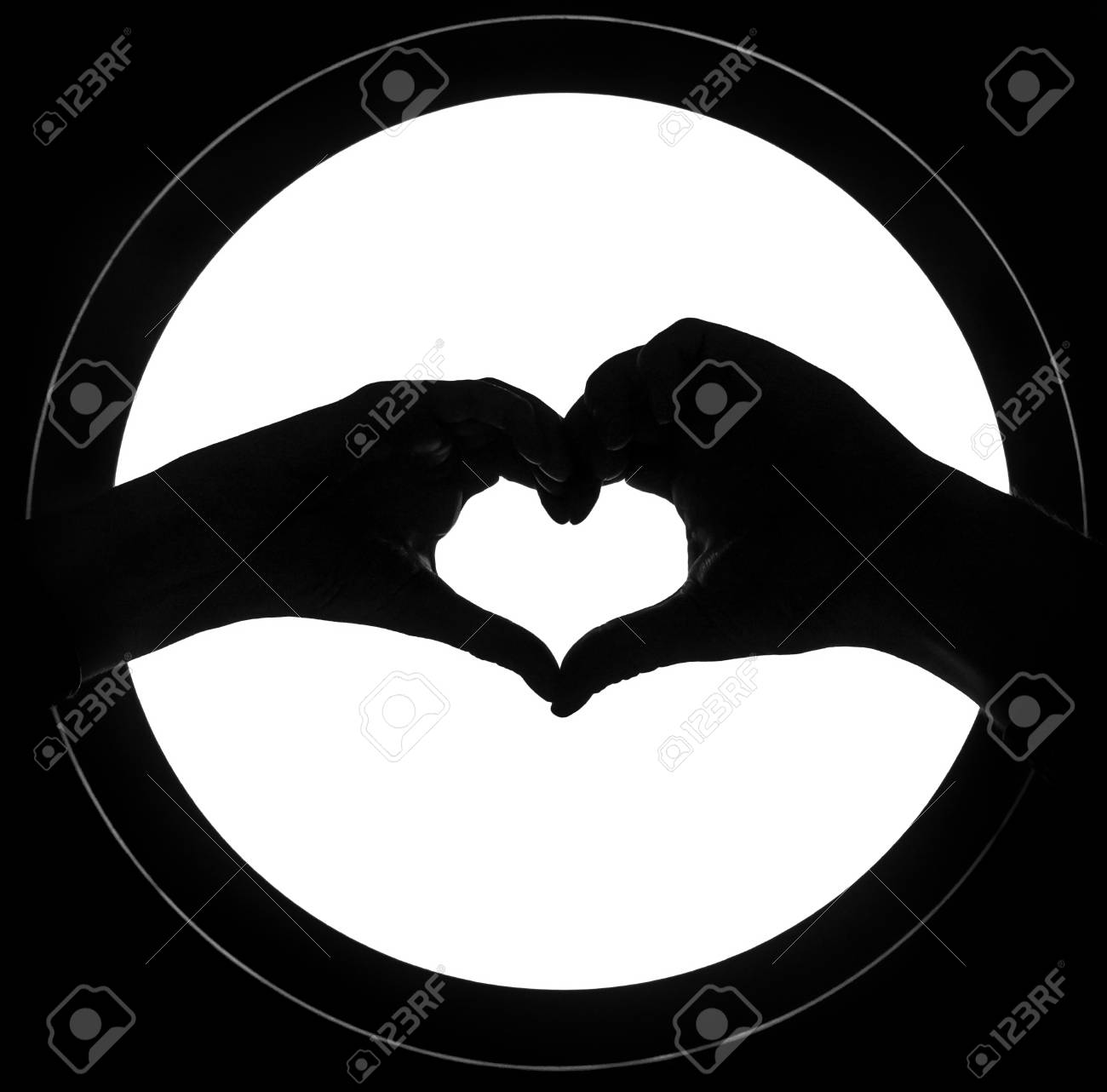 Hands In The Form Of Heart Isolated Background Heart Symbol Stock