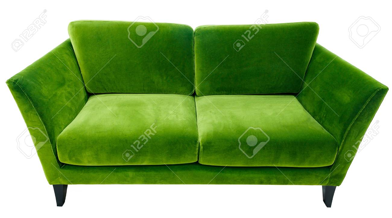 Green sofa. Soft velour fabric couch. Classic modern divan on..
