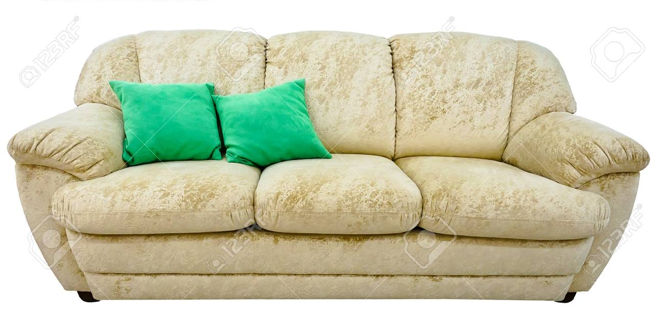 Etonnant Beige Sofa. Soft Velour Fabric Couch. Classic Modern Divan On Isolated  Background Stock Photo
