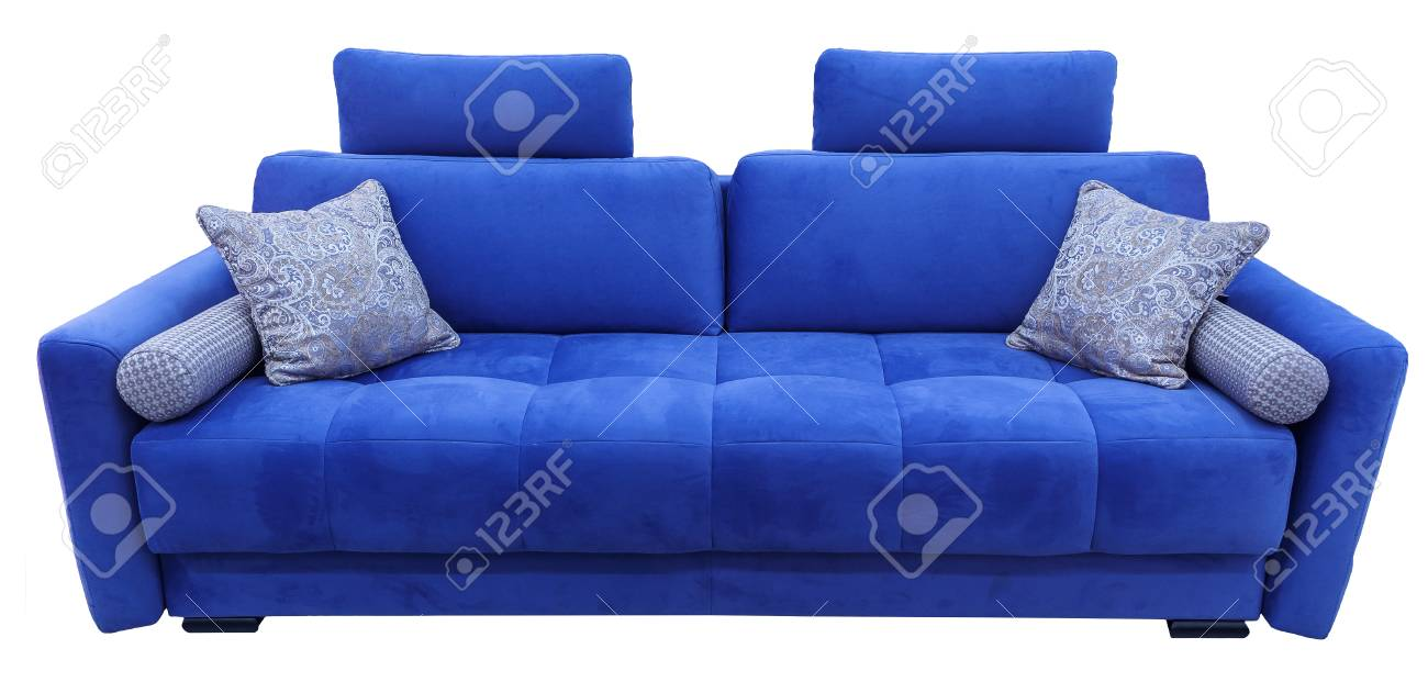 Blue Sofa. Soft Velour Fabric Couch. Classic Modern Divan On.. Stock ...