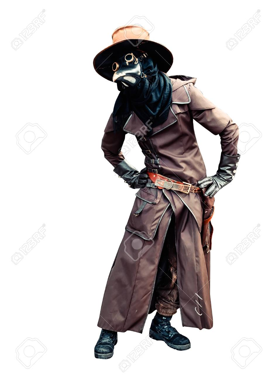 Plague doctor brown leather costume isolated - 114285333