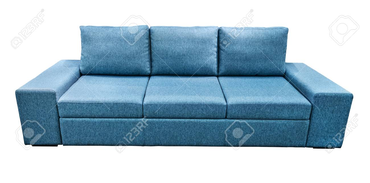 Blue sofa fabric couch. Classic modern divan on isolated background