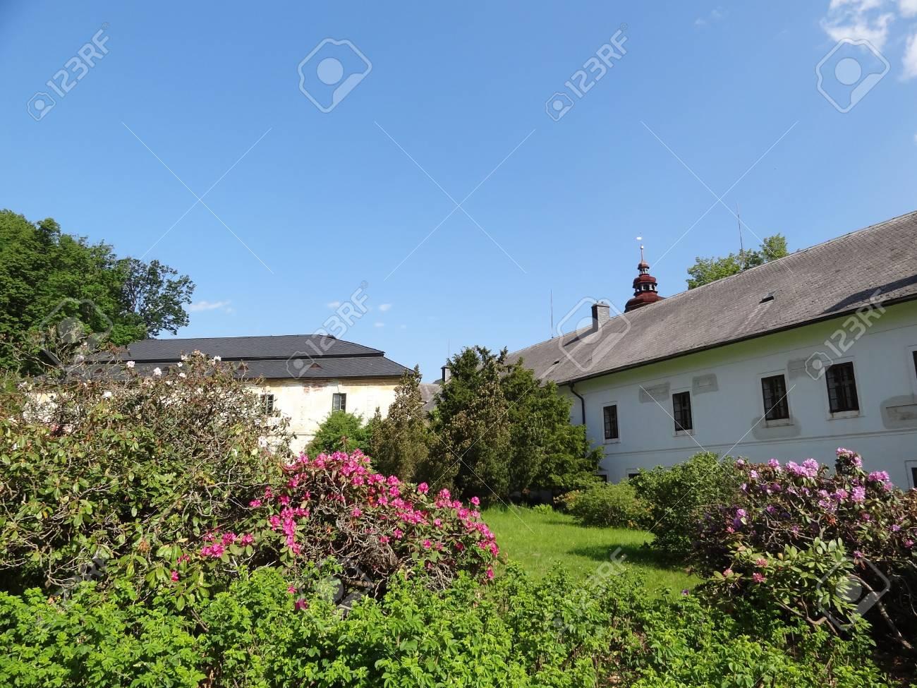 Velke Losiny, Czech Republic - May 23 2012: Chateau Velke Losiny with Garden Stock Photo - 14277534