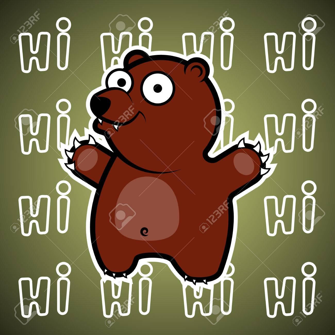 Vettoriale il poster con l orso dei cartoni animati sorridendo