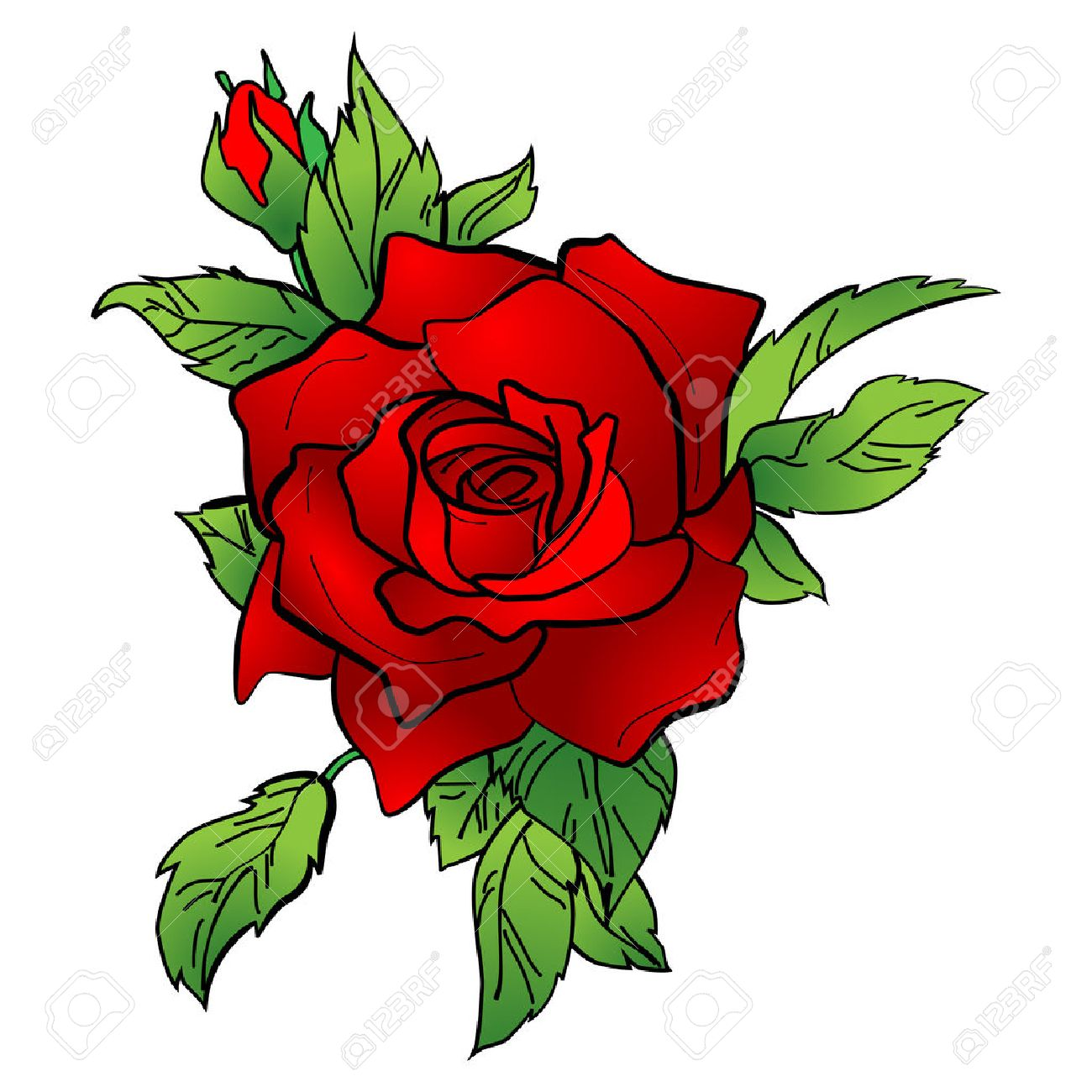 Illustration Of A Red Rose Tattoo New Style