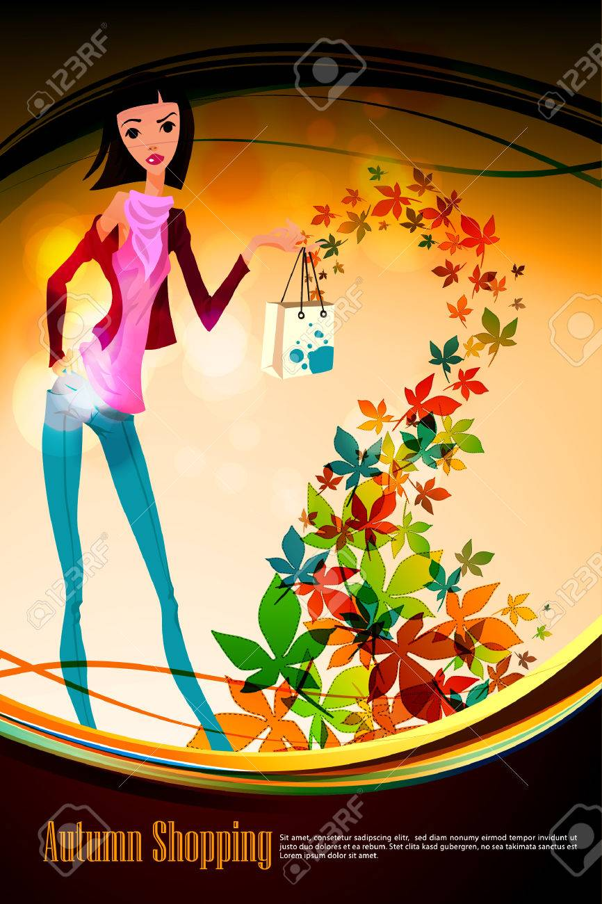 Autumn Shopping with Beautiful Woman holding Bag   Falling Leafs Stock Vector - 8091319