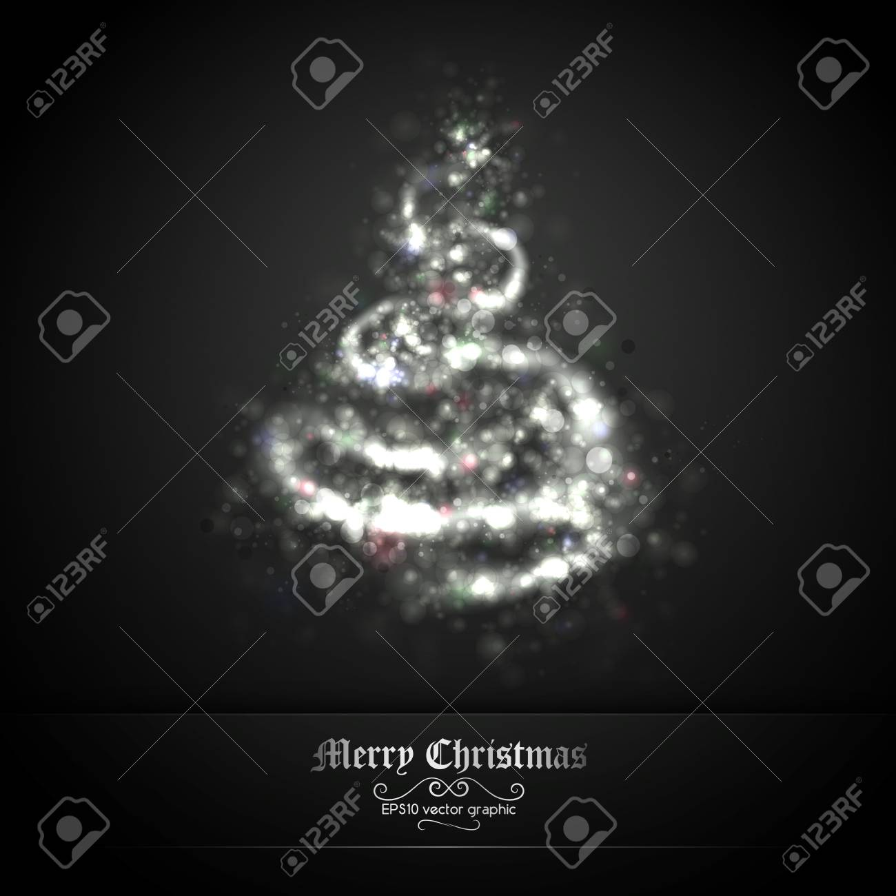 Dark Silver Christmas Greeting with Tree of Glittering Lights | EPS10 Graphic | Separate Layers Named Accordingly Stock Vector - 11331252