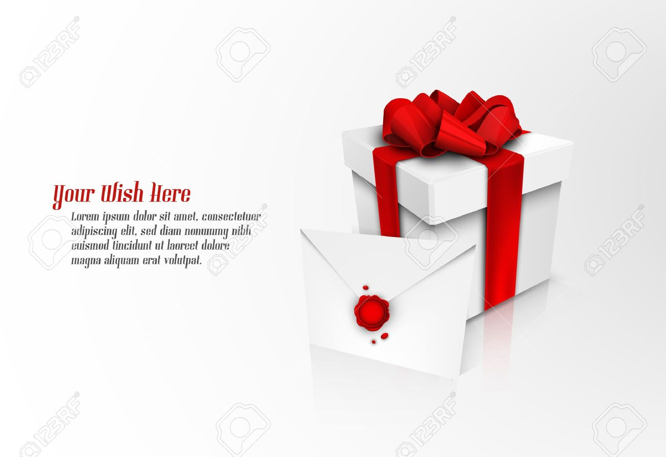 Christmas Gift Box with Red Ribbon Bow and Wax Sealed Envelope | EPS10 Vector Graphic | Separate Layers Named Accordingly Stock Vector - 11568949