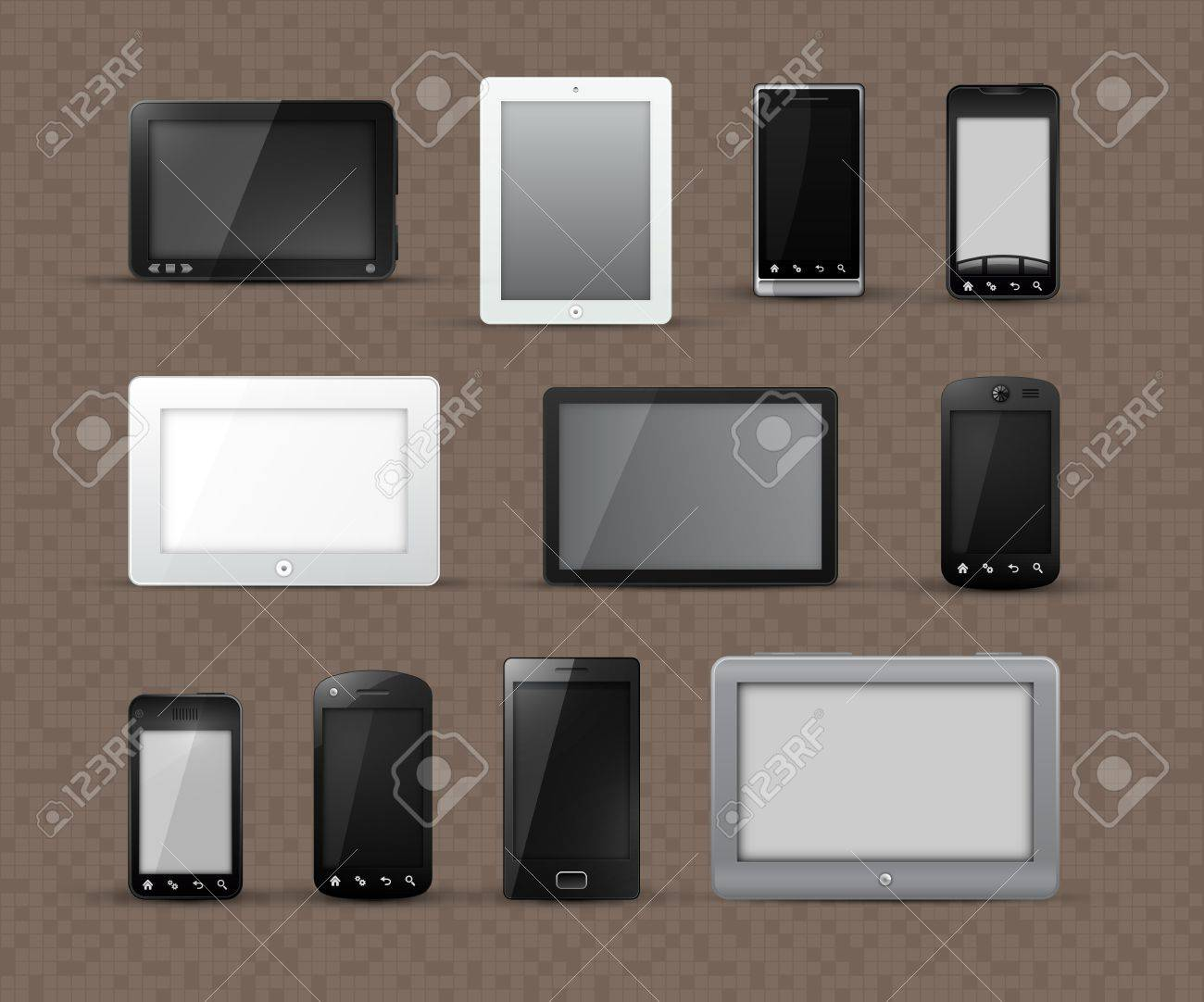 Different Generic Models of Tablet Devices and Smart Phones | EPS10 Vector Graphic | Layers Organized and Named Stock Vector - 12872795