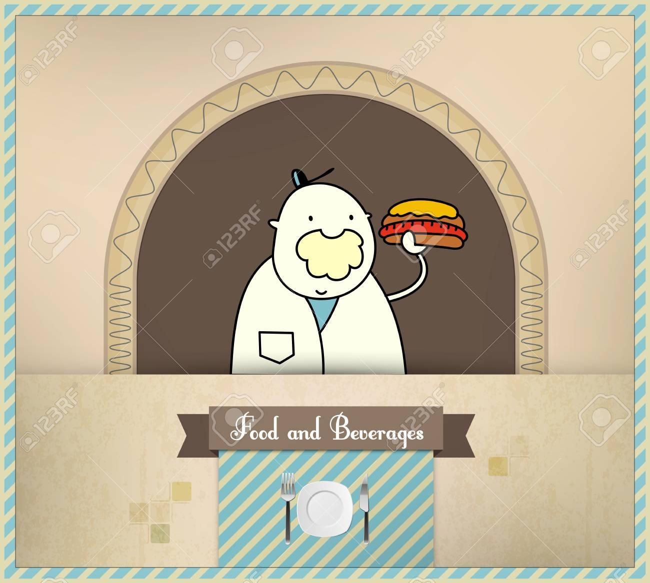 Salesman Serving Fresh Hot Dog. Food and Beverages Series. Stock Vector - 14172090