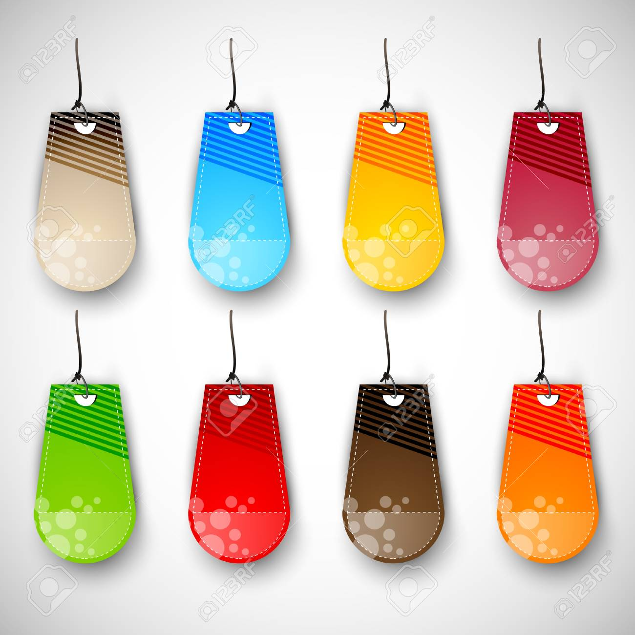 Set of Blank Tags  Labels of Different Colors Stock Vector - 15937746